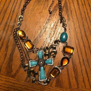 Jewelry - Unique Handmade Statement necklace turquoise cross